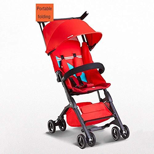 LIIYANN Jungen und Mädchen Tasche Auto Kinderwagen Sitzen Liegen Tragbare Falten Auto Kann Bord Lokomotive Kinderwagen Kinder Regenschirm (Farbe: R)