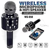 Un-Tech WS-858 Rechargeable Wireless Karaoke Bluetooth Microphone With Inbuilt Speaker with Audio recording
