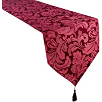 Premier Signature Collection Cadiz Damask Effect Berry (Reddish) Table Runner 13in x 72in (33cm x 183cm) Approx Approximate