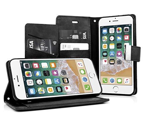 MyGadget Funda Flip Cierre magnético para Apple iPhone 6 6s en cuero sintético PU - Carcasa Tarjetero con 5 bolsillos y soporte plegable anti golpes - NegroCASE TARJETERA TIPO LIBRO - Esta elegante cubierta billeteraesta desarrollada con un estilo s...