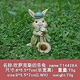 KOONNG Creativo Lindo Libro de Lectura decoración de Conejito Resina jardín Bonsai Tablero de Mesa Regalo del día de la Madre, M, Altura 7 cm