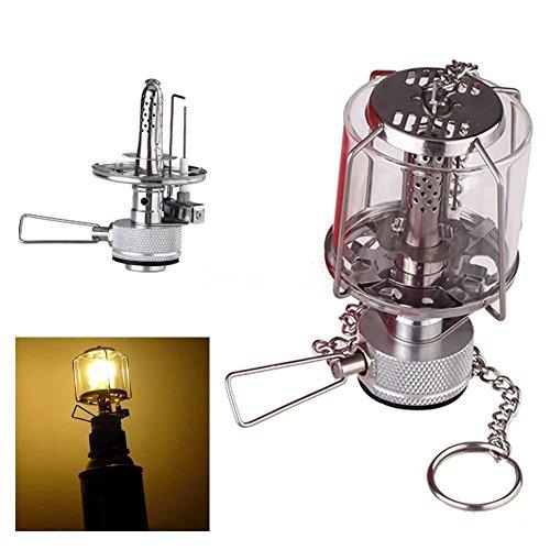 TOOGOO Mini Lanterne de Camping Lumiere de Gaz Portable Lampe de Tente En Verre Butane 80 LUX Lumiere BL