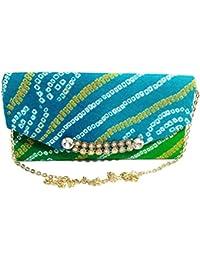 Arisha Kreation Co Envelope Clutch Using Pure Bandhej Fabric (Blue)