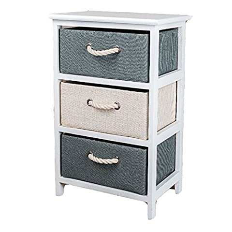 TopHomer Canvas Drawers Nightstand Bedside Table End Table Side Table Rural White, 3 Drawer (White, 1