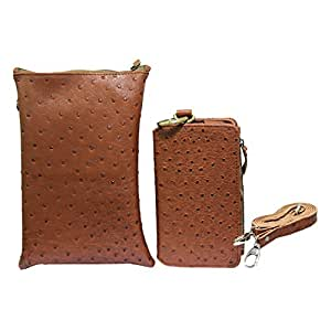 Jo Jo A7 Zara Sr Croc Leather Wallet sling Bag clutch Pouch Mobile Phone Case Cover For Spice Stellar Horizon Mi 505 Pro Brown