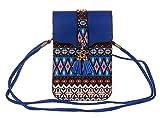 KISS GOLD(TM) Women's Folk Style Mini Shoulder Bag Cellphone Pouch(Navy Blue)