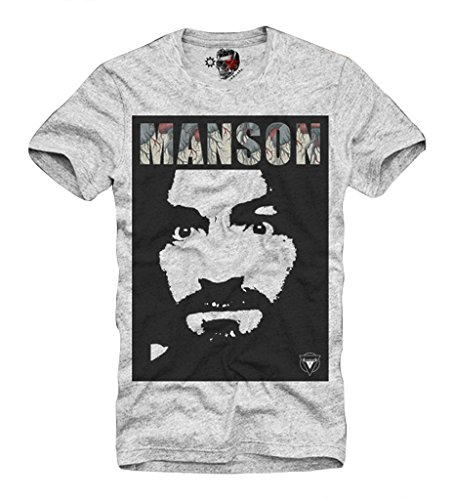 E1SYNDICATE T-SHIRT CHARLES MANSON HELTER SKELTER 70s MESCALINE SALVIA GRAU S/M/L/XL