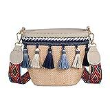 Mini Cute Strohtaschen Strohsack mit Quaste Weaving Boho Kleiner Eimer Damen Sommer Strandtasche mit...