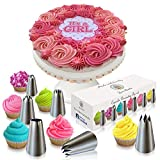 Cake & Cupcake Decorating Tip Set by Love2bake - MEDIUM SIZE Stainless Steel Decorating Tips - Closed Star Tip - Open Star Tip - Round Tip - French Tip - Swirl Tip - BONUS Drop Flower Tip