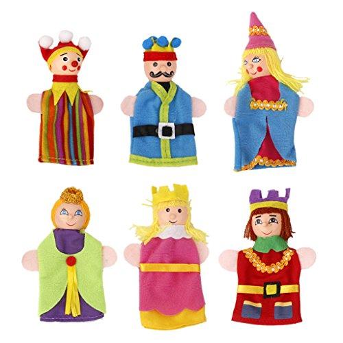 Blesiya 6pcs Rey Y Reina Cabeza De Madera Dedo Marionetas