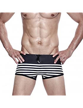 SEY Swim Trunks - Summer Shorts Men's Home Underwear Navy Style Stripe Boxer Shorts,re,L