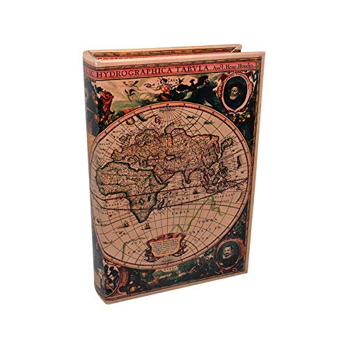 Art Deco Home Libro-Caja Fuerte Mapa Mundi Verde/Rosa 16x5x24cm