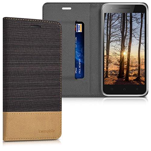 kwmobile Lenovo C2 Hülle - Stoff Handy Cover Case mit Ständer - Schutzhülle für Lenovo C2