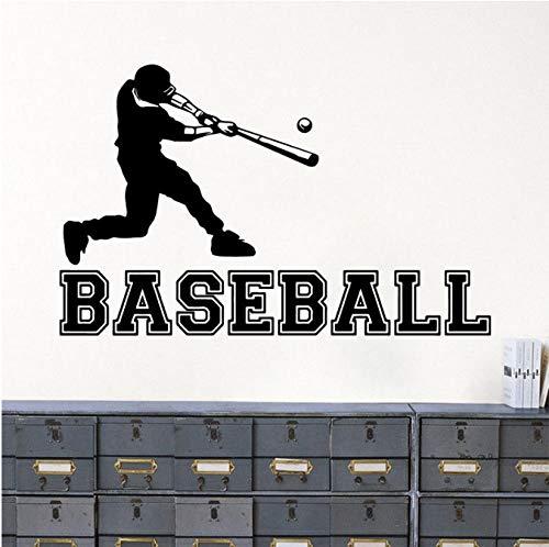 Baseball Player Wandaufkleber Sport Athletic Vinyl Wandtattoo Junge Zimmer Wandbild Gym Sport Dekoration Baseball Player Aufkleber 91x57 cm