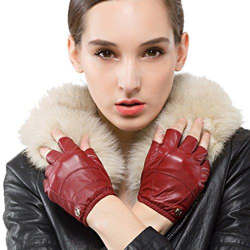 Nappaglo Damen Lederhandschuhe für fahren Halbfinger fingerlose Lammfell Leder Fitness Outdoor kurz ungefüttert Handschuhe (S (Umfang der Handfläche:16.5-17.8cm), Winerote) - Leder Handschuhe Fingerlose Rot