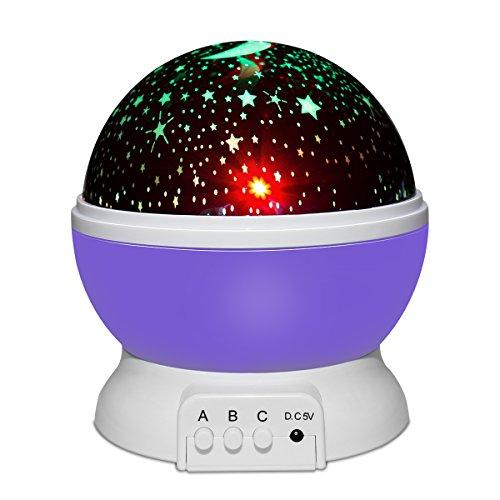Yasolote Lámpara Proyector del Cielo de Estrella y Luna Lámpara Nocturna Creando un Maravilloso Cielo en la Pared de la Habitación con Varios Colores para Niños, como Regalos de Bebé (Purpúreo)