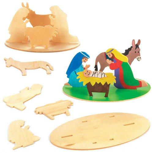 chtsgeschichte aus Holz für Kinder als weihnachtliche Bastel- und Deko-Idee für Jungen und Mädchen (3 Stück) ()