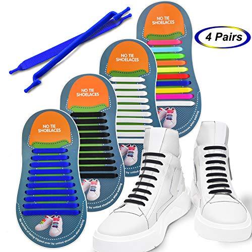 4 pares Silicona elástica Cordones de zapatos No atar los Cordones fáciles  perezosos bf95b50471fc