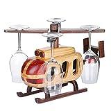 BEIQI Portabottiglie di vino elicottero europeo creative swing di legno nel vino per montaggio su rack portabicchieri bene palloni stand invertiti bere vino aeromobili Rack (senza vetro)