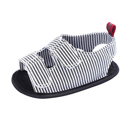 Minuya Toddler Kids Baby Boy Anti Slip Crib Stripe Shoes Prewalkers Sandals BDqmp