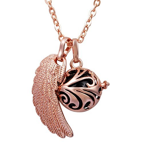 eudora-rose-gold-angel-wing-chain-necklace-pendant-for-women-lucky-charms-soft-chime-sounds-ball-by-