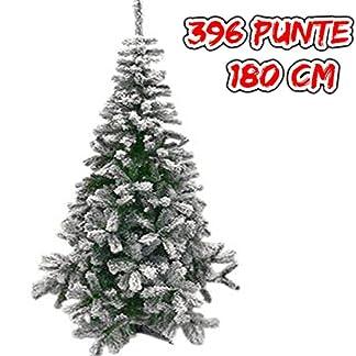 Árbol de Navidad artificial nevado «Lapponia» de 180 cm de altura. Color: verde con nieve artificial de color blanco