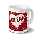Tasse mit Namen Jolena - Motiv Rosenherz - Namenstasse, Kaffeebecher, Mug, Becher, Kaffeetasse - Farbe Weiß