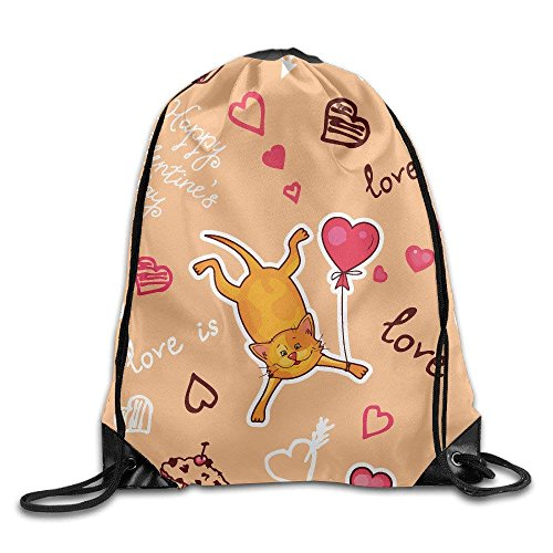 Valentine Background with Cute Cat Gym Drawstring Backpack Unisex Portable Sack Bags -