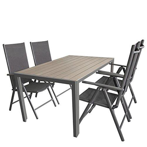 5tlg. Sitzgarnitur, Aluminium Gartentisch Tischplatte Polywood Grau 150x90cm, 4x Aluminium-Hochlehner mit 2×2 Textilenbespannung, 7-fach verstellbar, klappbar, anthrazit – Sitzgruppe Gartengarnitur Gartenmöbel