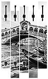 Artland Qualitätsmöbel I Garderobe mit Motiv 5 Holz-Paneele mit Haken 68 x 114 cm Architektur Brücken Sehenswürdigkeiten Foto Schwarz Weiß D8NW Canal Grande Rialtobrücke Sonnenuntergang Venedig