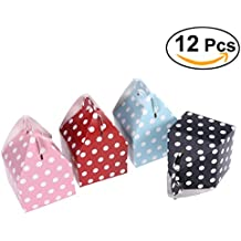 NUOLUX 12pcs empaqueta favor de partido Cajas de Carton punto polca brillante de las cajas del alimento