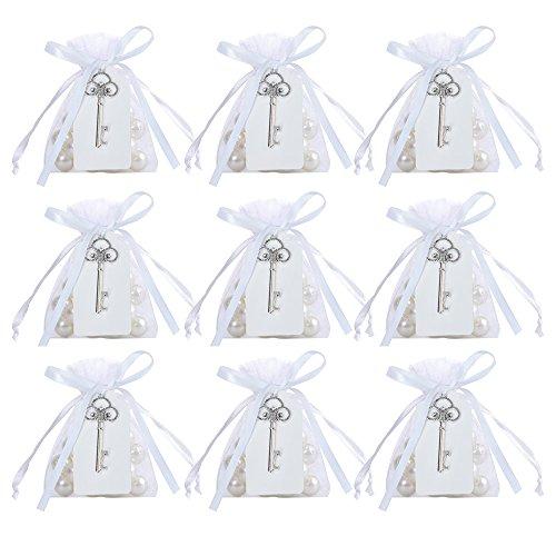 Awtlife 50pz rustico vintage chiave apribottiglie con carta tag e velato borsa per bomboniere matrimonio