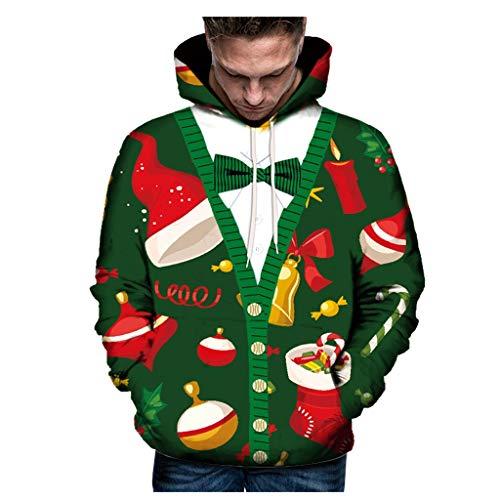 Aoogo Weihnachten Pullover Jumper Herren Damen Unisex Lustige Sweatshirts hässliche Pullover 3D Printed Xmas Grafik Santa Langarm mit Kapuze