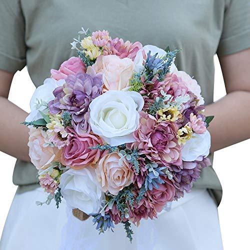 Vintage Blau Silk Wilden Blumen Bouquet für Hochzeit Plain Farbe Braut Bouquet Hochzeit Mittelstücke Home Dekoration