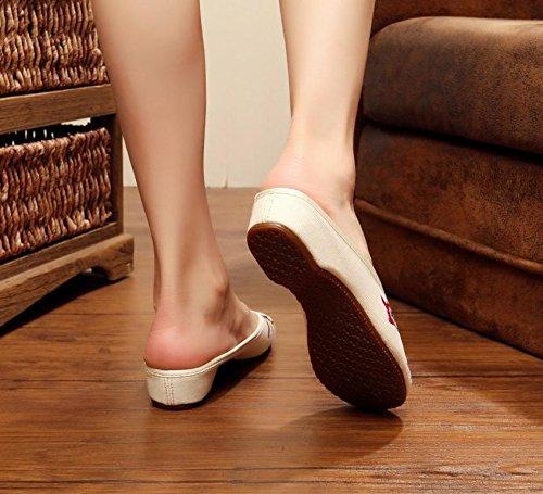 &hua Fine Chaussures brodées, semelle tendon, style ethnique, flip flop féminin, mode, confortable, sandales meters white