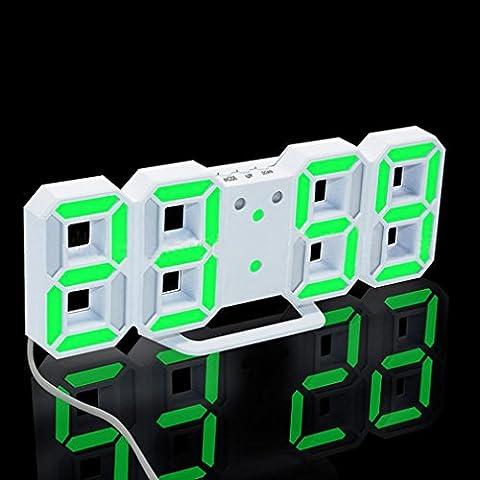 LED Clock, Toamen Modern Digital LED Table Desk Night Wall Clock Alarm Watch 24 or 12 Hour Display