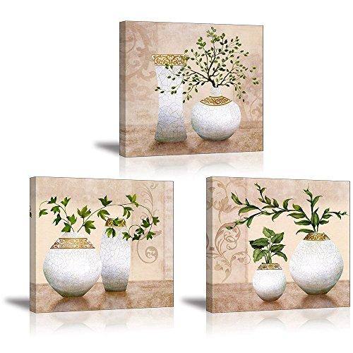 PIY Painting Wasserdichte Bilder Leinwandbild Fotoleinwand Grün Pflanze Blumen Wandbild Kunstdrucke auf Leinwand Ölgemälde Malerei Home Deko für Wohnzimmer Schlafzimmer Flur Wand 30x30 cm 3 teilig