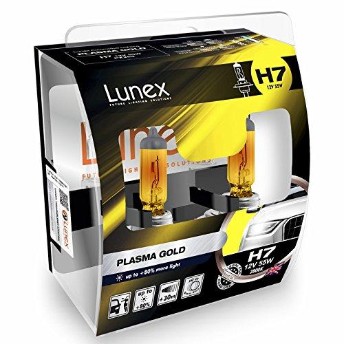 LUNEX H7 PLASMA GOLD Ampoules Halogenes Phare Jaunes 477 12V 55W PX26d 2800K duobox (2 pièces)