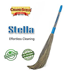 CHAND SURAJ ® Stainless steel Stella Eco Friendly Soft Grass Broom Stick for Floor Cleaning (Multicolour, King)