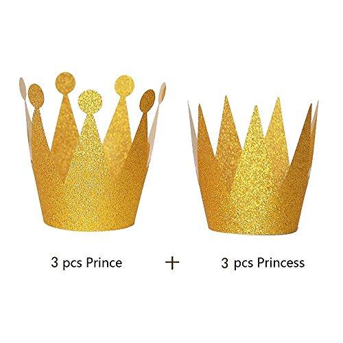 Upxiang 6 PCS Geburtstagskrone Hüte Prinzessin Prince Crown Flash-Pulver Hut Geburtstagsfeier-kleine Krone Papier Kinder Erwachsene Geburtstag Hüte Kappe Party Dekoration (Gold)