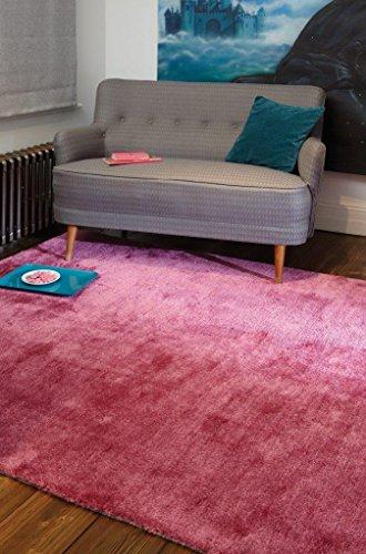 Alfombra salon sala de estar Carpet moderno Design TULA UNI RUG Polyester 200x300 cm Rectangular Rosa | Alfombras barata online comprar