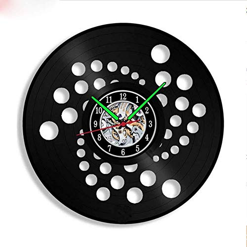 Txyang Home Living Bitcoin Ether Design Vinyl LP Record Wall Clock Mute Wall Watch Decoration