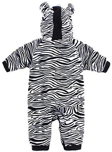 Fancy Me Baby Kleinkind Mädchen Jungen schwarz weiß Zebramuster Tiermuster mit Kapuze Schneeanzug Einteiler Halloween Kostüm Kleid Outfit - Schwarz/weiß, 18-24 months (95cms), Schwarz/weiß