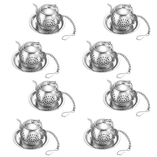 Set di 8 Infusore per tè con Vassoio, RETON Loose Tea Steeper-Best Tea Filtro per tè Filtro Sciolto Steeper