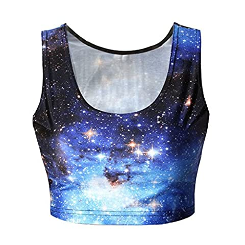 Frauen Glänzende Sterne Blau Galaxie Clubwear Crop Tops Tank Tops