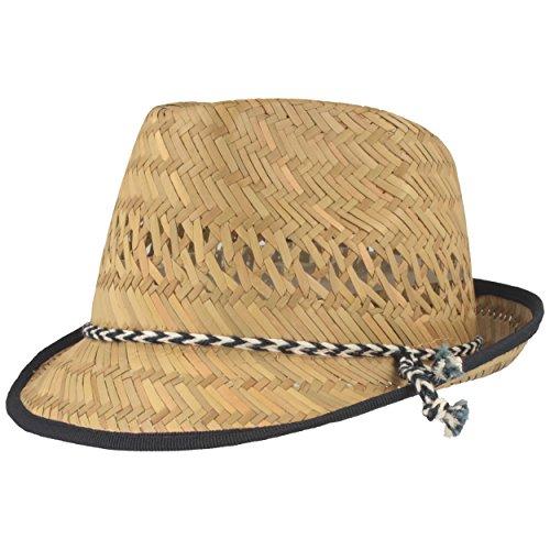 Kinder Strohhut | Sommerhut | Sonnenhut - 100% Stroh - Für Junge & Mädchen - Besonders Leicht & Bequem mit Blau-Weißer Kodel-Garnitur, Natur, 56 (Verwendet Cowboy-hüte)