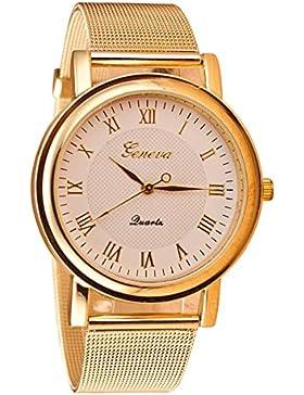 Geneva Netz-Band Armbanduhr (weiss Zifferblatt & Golden Band)