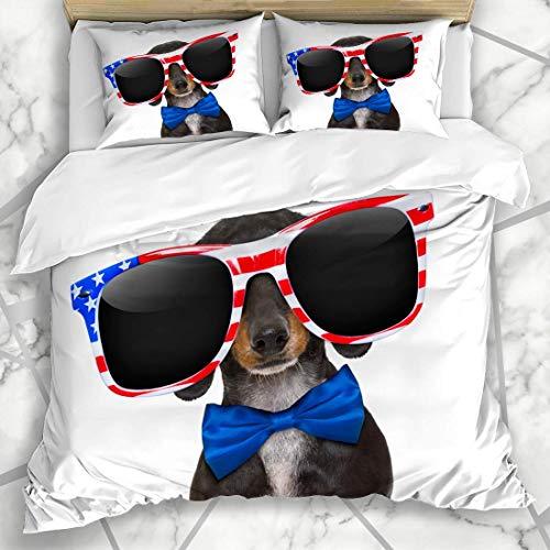 Bettbezug-Sets Gratis Juli Dackel Wurst Hund mit Sonnenbrille Finger USA Patriotic Holidays 4. Vierte America Mikrofaser Bettwäsche mit 2 Pillow Shams
