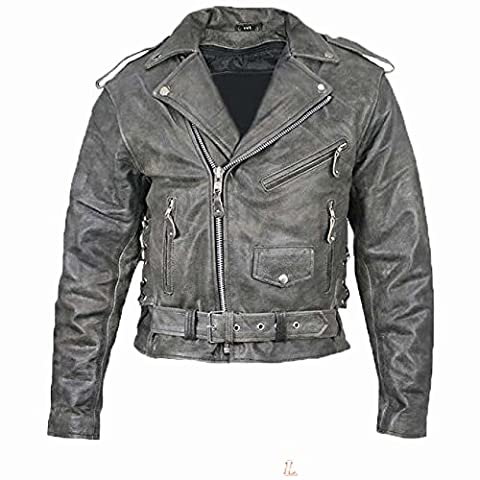 Australian Bikers Gear Motorcycle Vintage Retro Distressed Antique Leather Harley Jacket CE Armour (6XL 52