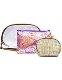 Color Fever Women's Multi Purpose Makeup Bag / Vanity Pouch / Toiletry Travel Kit / Bag Organiser (Purple Gold)